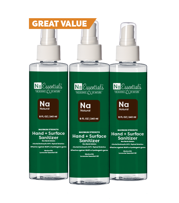 Natural Hand + Surface Sanitizer 8oz (3-Pack)
